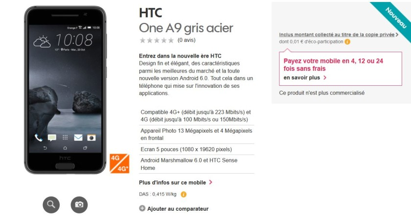 HTC One A9 Orange France