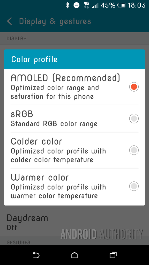 HTC One A9 Display Settings
