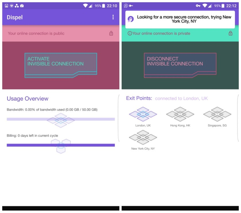 Dispel Android app switching location