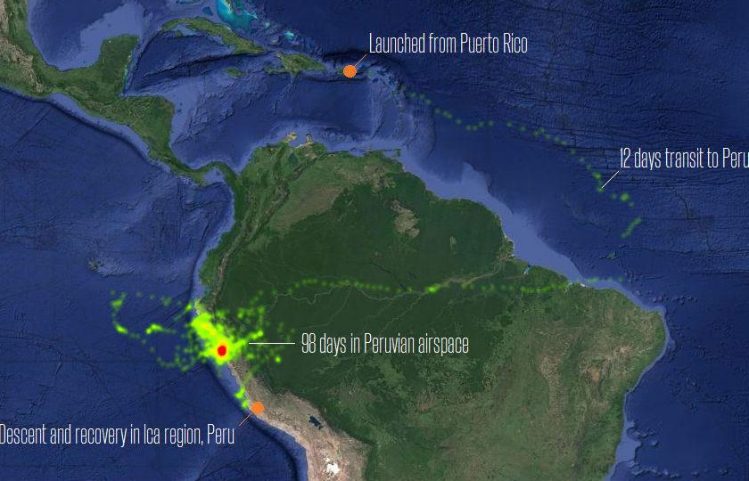 Project Loon Peru flight path