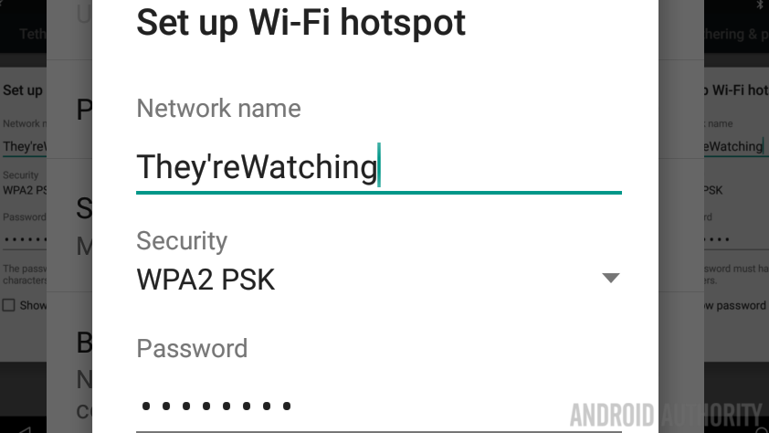 Android mobile hotspot ssid