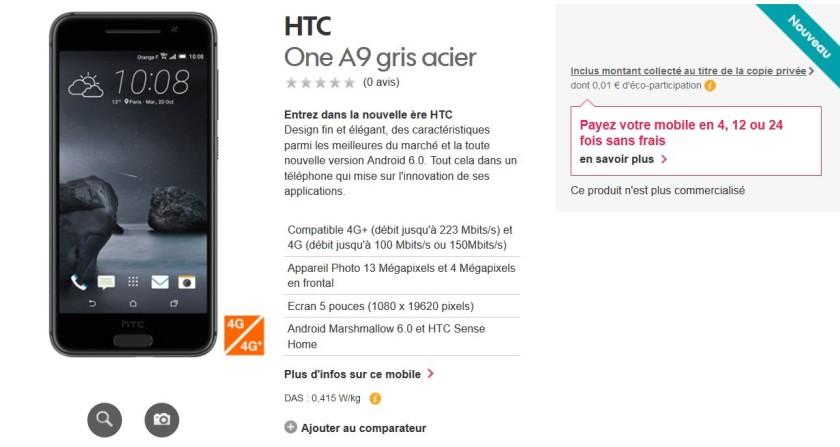HTC One A9 Orange France