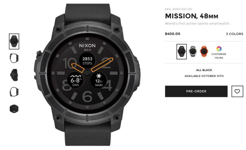 Nixon Mission Android Wear smartwatch website